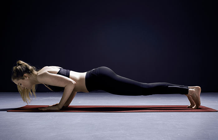 2. Chaturanga Dandasana (Low Plank)