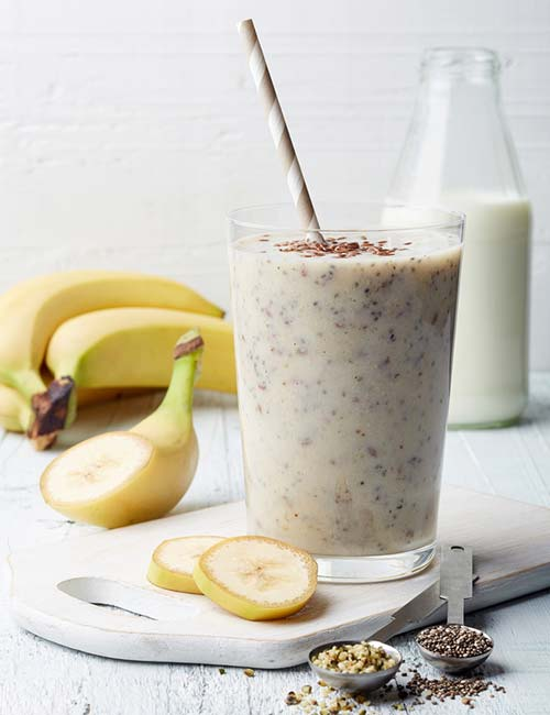 Le migliori ricette per frullati proteici - Frullato proteico con burro di arachidi e banana (proteine – 43,54 g)