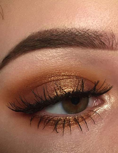 Makeup For Green Eyes - The Prettiest Copper-Gold Look