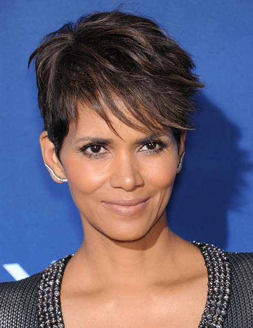 Feathered Bangs Brown Pixie