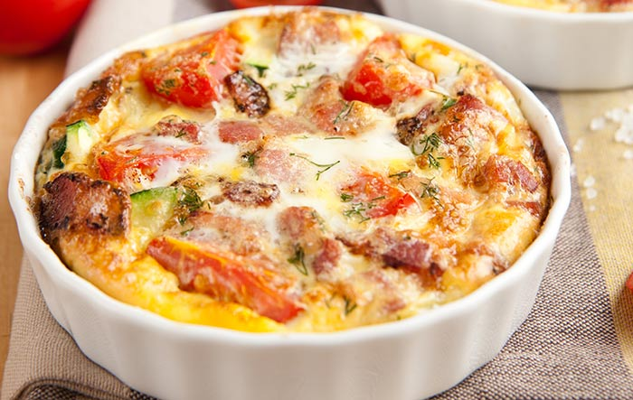 Egg Recipes For Dinner - Bacon And Mustard Frittata With Tomato