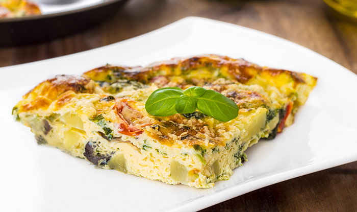 Egg Recipes For Dinner - Spring Vegetable, Ham, And Goat Cheese Frittata