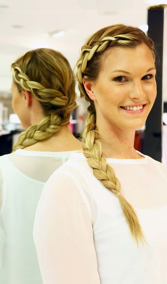Side Halo Braid With Plaited Ponytail