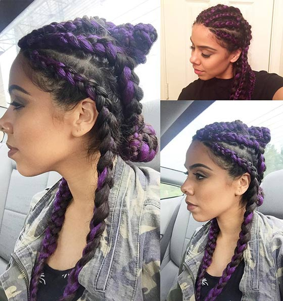 21.-Deep-Purple-Cornrow-Buns