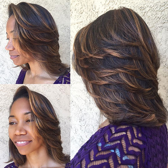 60 bob haircuts for black women feathered highlights layered bob urmus Images