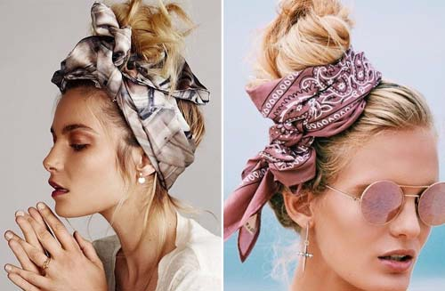 Vintage Top Knot WIth Scarf