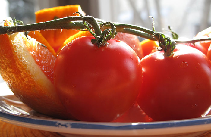 Tomatoes and orange