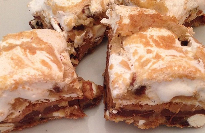 Marshmallow Peanut Butter Chocolate Chip Cookie S'more Bars