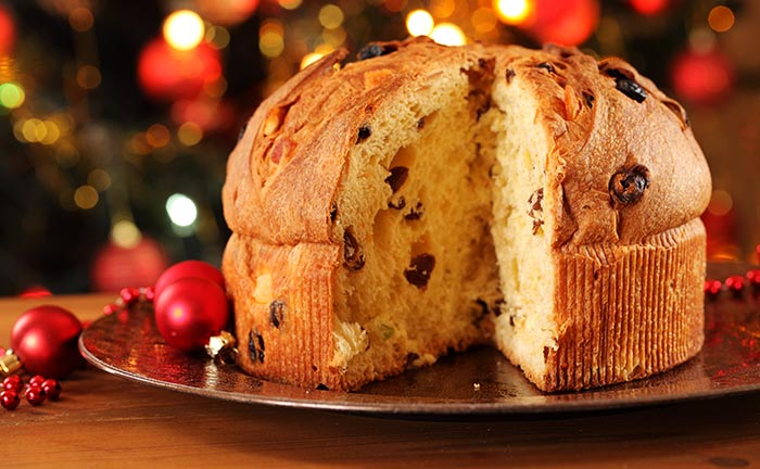Orange Frosted Panettone Cake