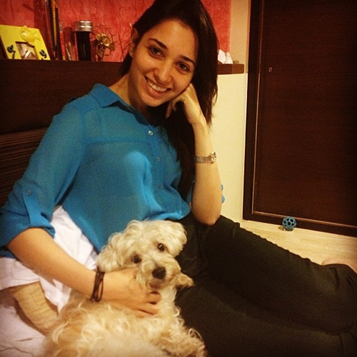 Tamanna with her pet