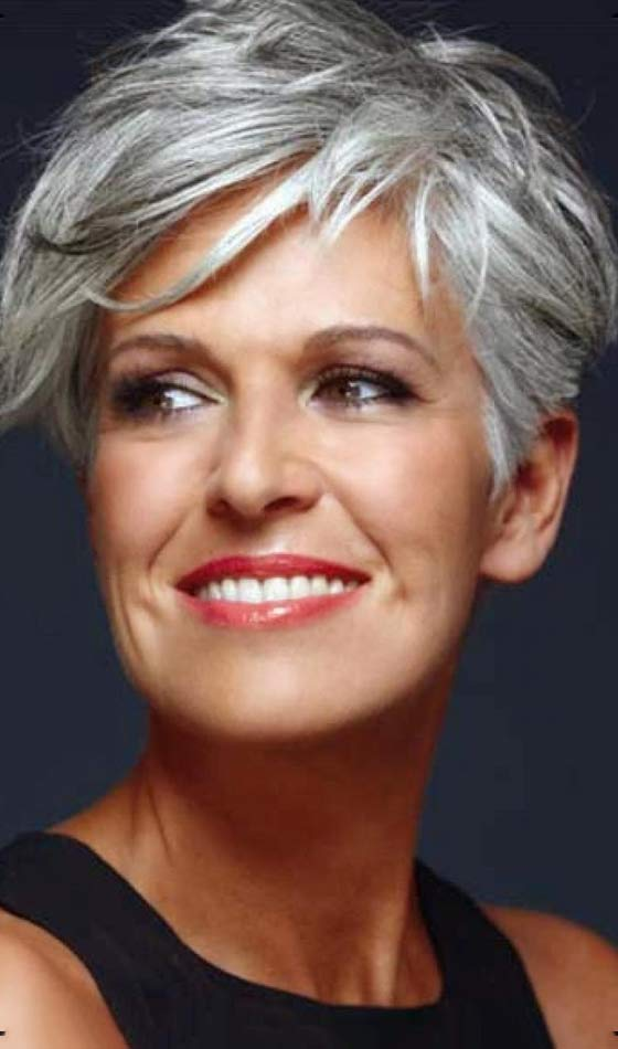 Platinum Tousled Short Hairdo With Bangs 50