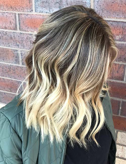 Blonde Highlight Balayage On Brown Hair