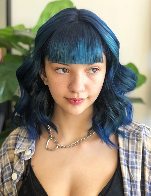Blue Lob With Thick Bangs
