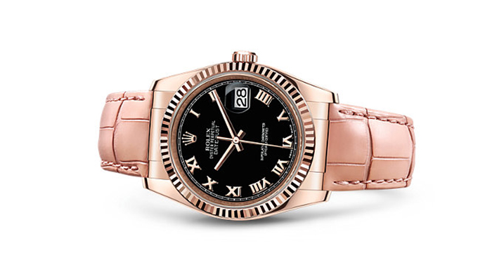 Best Rolex Watches For Women: Datejust 36- Pink Leather Strap And Black Dial