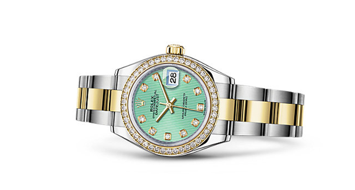 Best Rolex Watches For Women: Lady-Datejust 28 - Yellow Rolesor Strap And Mint Green Dial