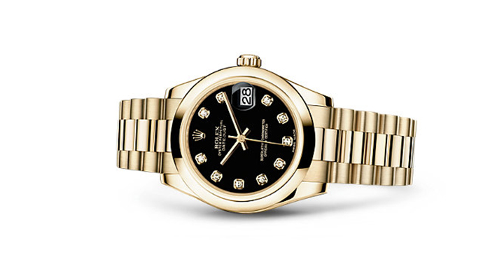 Best Rolex Watches For Women: Datejust 31 - Yellow Gold Strap And Black Dial