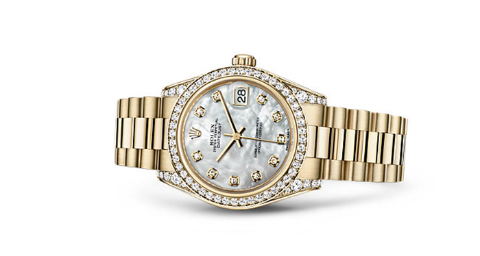 Best Rolex Watches For Women: Datejust 31 - Yellow Gold Strap And White Mother-of-Pearl Dial