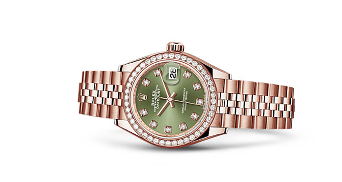 Best Rolex Watches For Women: Lady-Datejust 28 - Everose Gold Strap And Olive Green Dial