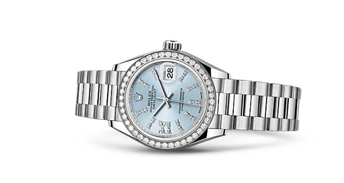 Best Rolex Watches For Women: Lady-Datejust 28 – Platinum Strap And Ice Blue Dial