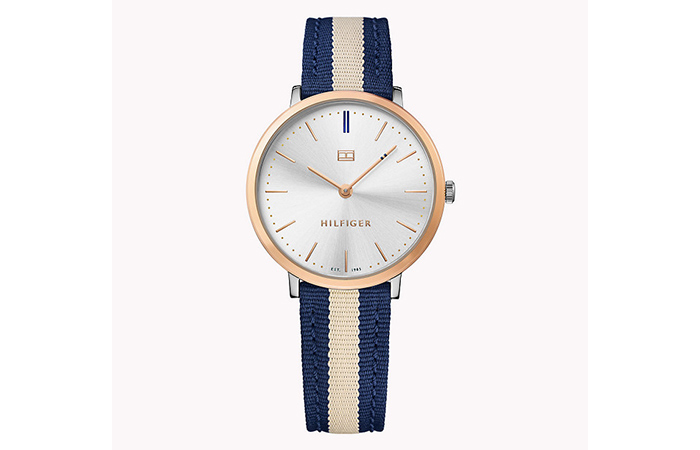 Tommy Hilfiger Watches For Women - 4. Navy Blue And Cream Canvas Strap Watch