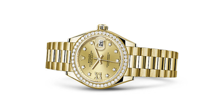 Best Rolex Watches For Women: Lady-Datejust 28 – Yellow Gold Strap And Champagne Dial