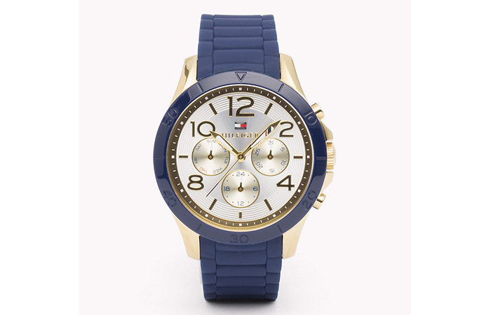 Tommy Hilfiger Watches For Women - 9. Blue And Gold Faux Metallic Strap Watch