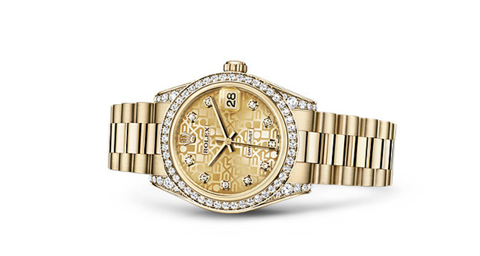 Best Rolex Watches For Women: Datejust 31 - Yellow Gold Strap And Champagne Jubilee Dial