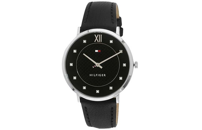 Black Analog Watch With White Stones