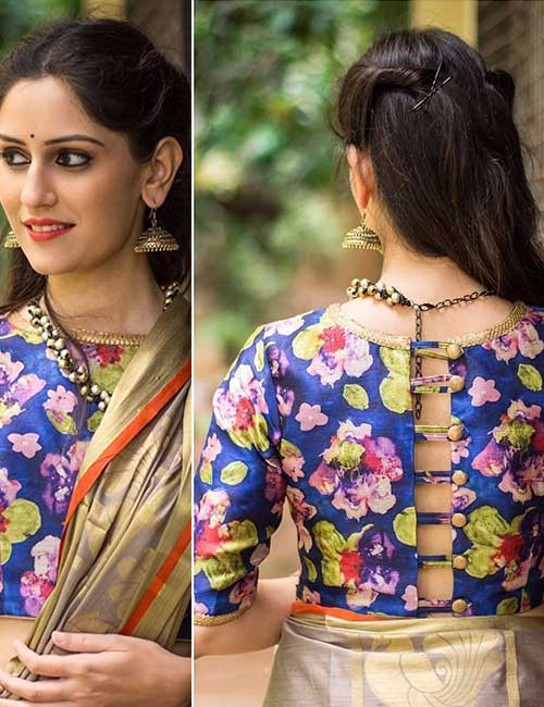 Blue Floral Printed Blouse For Silk Sarees