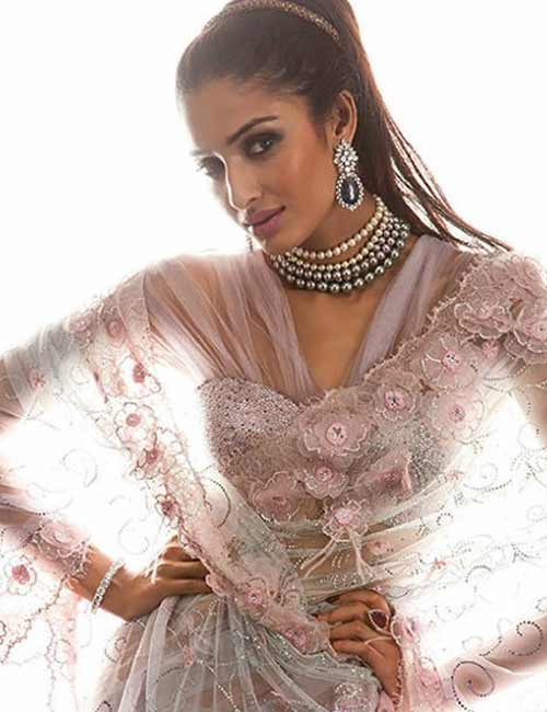 Corset Style Satin Blouse With Satin Motifs And Net Sleeves