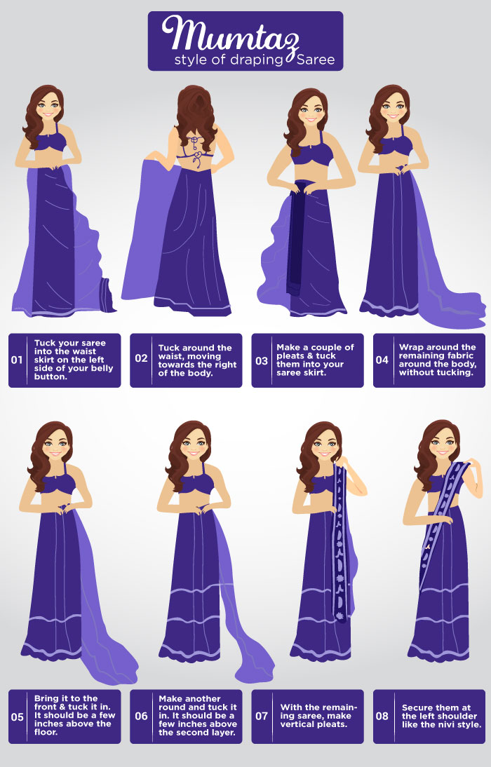 How To Wear Saree - Retro/Mumtaz Style Saree Draping