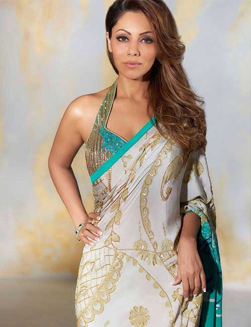 Halter Style Embroidery Blouse With Gold Strap For Chiffon And Satin Sarees