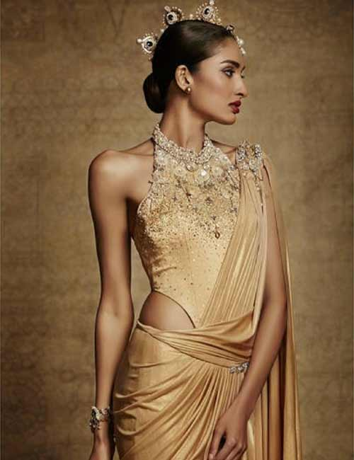 Heavily Embellished Gold Halter Blouse