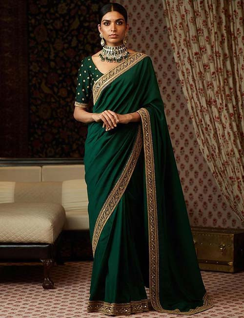 Olive Green Zardozi Embroidery Blouse For Zari Saree