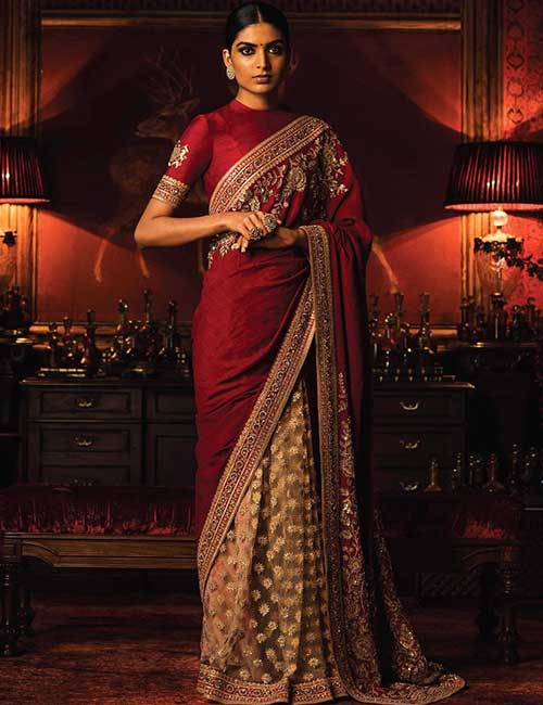 f37ed5c59a79cb Raw Silk High Neck Blouse With 34th Sleeves For Tussar And Pure Silk Sarees