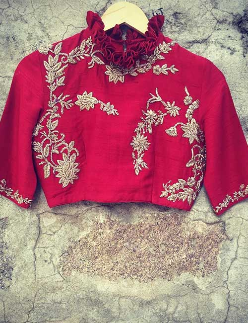 Red Silk Blouse With Golden Embroidery And Ruffled High Neck