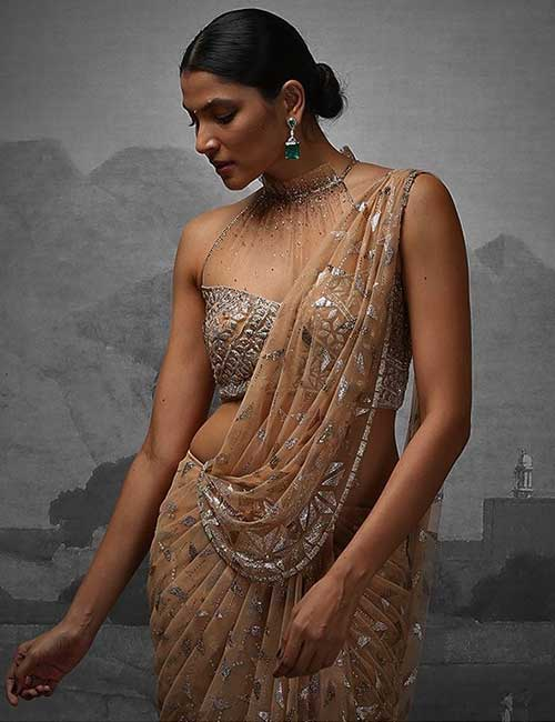 Ruched Effect Halter Neck Tulle Blouse Embellished With Rhinestones For Party Wear Sarees