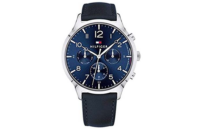 Three-Panel Blue Strap Watch