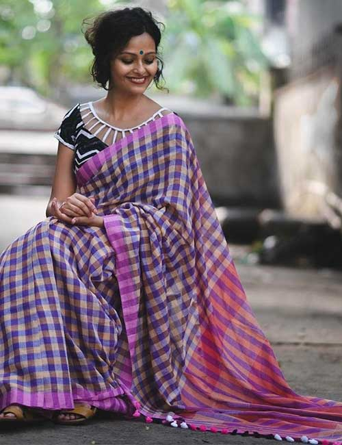 Zigzag Black And White Blouse For Checkered Sarees