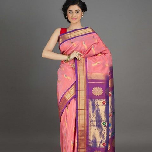 Baby Pink And Lilac With Peacock Motifs Paithani Saree Design