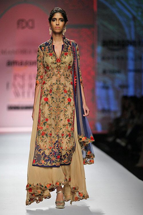 Threadwork Tulle Salwar With Palazzo Pants