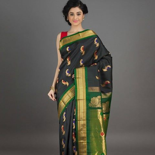 Black And Green Saree With Meena Booti Design