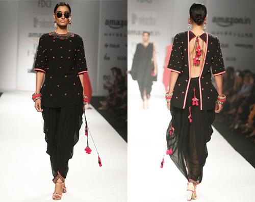 Black Backless Tunic Style Salwar And Dhoti Pant Style Bottom