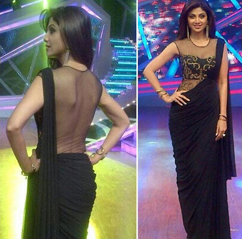 Black Chiffon Premade Saree With Sheer Tulle And Gold Embroidery Blouse