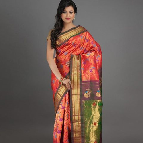 Paithani Saree Burnt Orange And Diya Motifs Design