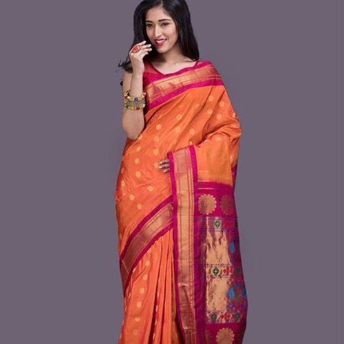 Paithani Saree Designs - Coral And Fuchsia Pink With Bangdi Motif