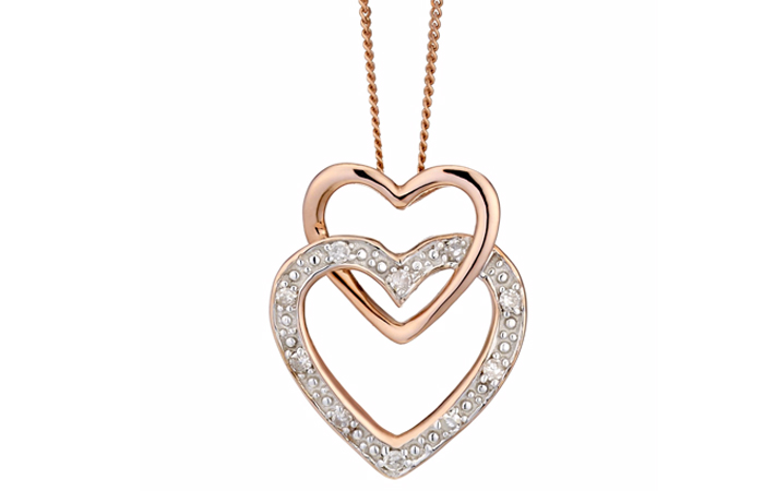 Light Weight Gold Necklace Designs - 4. Double Heart
