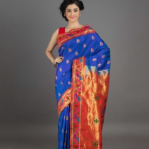 Electric Blue And Crimson Red Saree