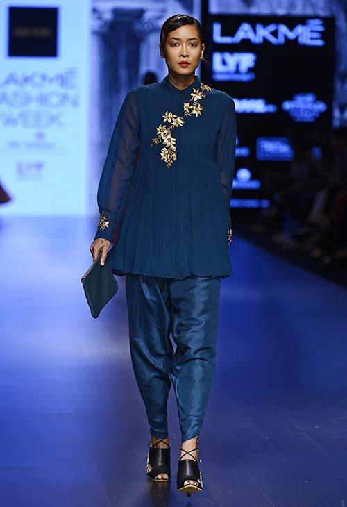 Royal Blue Pant Suit Style Salwar kameez