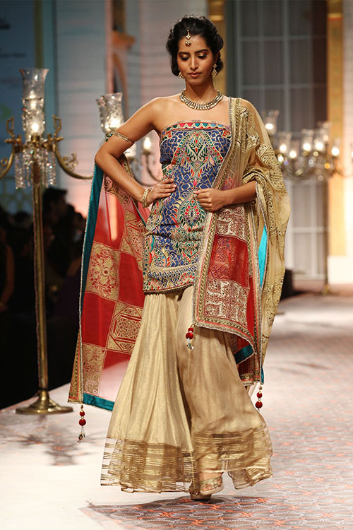 Embroidered Sharara With Loose Palazzo Pants